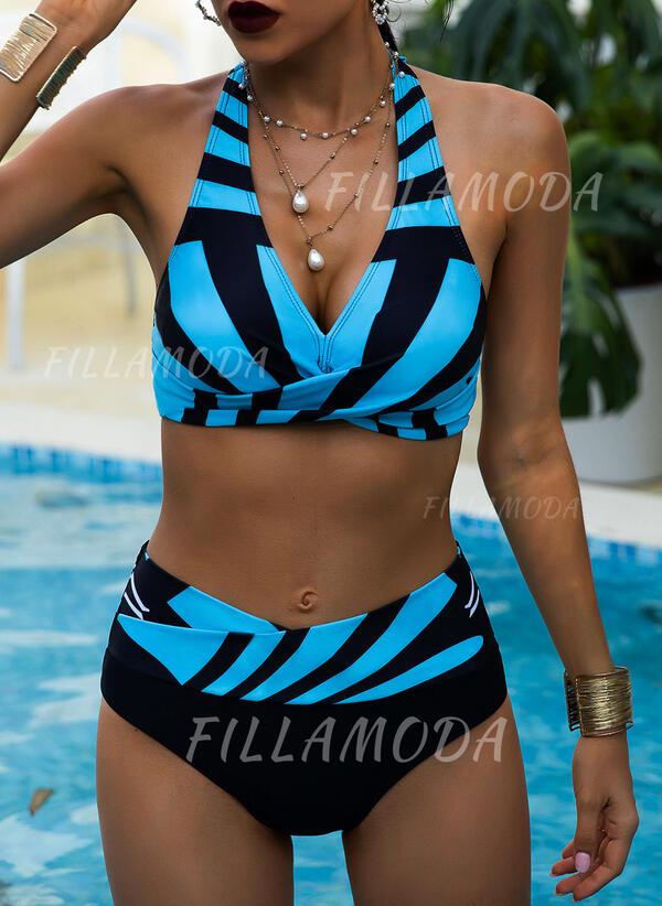 Gestreift Hochtailliert Drucken Neckholder V-Ausschnitt Sexy Vintage Übergröße Bikinis Bademode