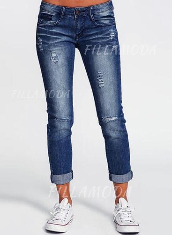 Taschen Shirred Übergröße Lange Einfarbig Baumwollstoff Hosen