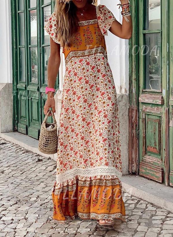 Druck Blumen Kurze Armel Shift Freizeit Boho Urlaub Maxi Kleider 199290604 Kleider 290604 Fillamoda