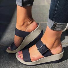 Frauen PU Keil Absatz Sandalen Keile Peep Toe Pantoffel mit Schnalle Schuhe