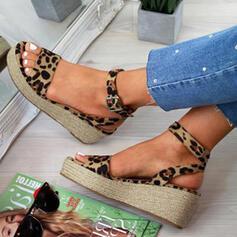 Frauen PU Keil Absatz Sandalen Keile Peep Toe Heels mit Schnalle Tierdruckmuster Schuhe