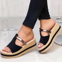 Frauen Echtleder Keil Absatz Sandalen Plateauschuh Keile Peep Toe Pantoffel mit Hohl-out Einfarbig Schuhe