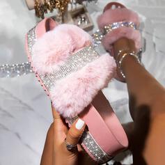 Frauen Kunstleder Funkelnde Glitzer Flascher Absatz Sandalen Flache Schuhe Plateauschuh Peep Toe Pantoffel mit Strass Pelz Schuhe