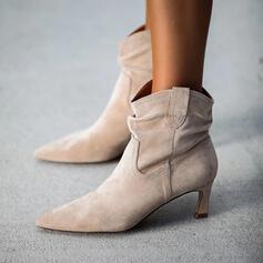 Frauen Veloursleder Stöckel Absatz Stiefelette Spitze mit Einfarbig Schuhe