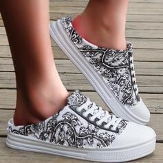 Frauen EVA Flascher Absatz Flache Schuhe Round Toe Rutsche & Maultiere Slipper Espadrille mit Blume Drucken Schuhe