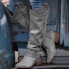 Frauen PU Stämmiger Absatz Kniehocher Stiefel Round Toe mit Schnalle Reißverschluss Schuhe