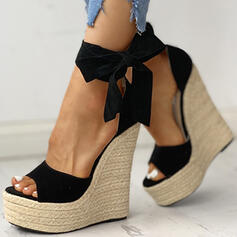 Frauen PU Keil Absatz Sandalen Keile Peep Toe Heels mit Zuschnüren Schuhe