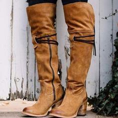 Frauen Veloursleder Stämmiger Absatz Stiefel Kniehocher Stiefel Spitze mit Reißverschluss Andere Einfarbig Schuhe