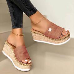 Frauen Veloursleder Keil Absatz Sandalen Keile Peep Toe Pantoffel Heels mit Andere Schuhe
