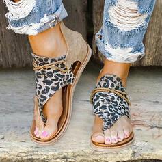 Frauen Kunstleder Stoff Flascher Absatz Sandalen Flache Schuhe Peep Toe mit Tierdruckmuster Reißverschluss Schuhe