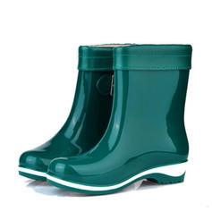 Frauen PVC Niederiger Absatz Geschlossene Zehe Stiefel Stiefelette Regenstiefel mit Schnalle Schuhe