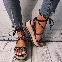 Frauen PU Flascher Absatz Sandalen Plateauschuh Peep Toe mit Zuschnüren Hohl-out Schuhe