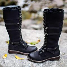 Frauen PU Flascher Absatz Stiefel-Wadenlang Martin Stiefel Round Toe mit Schnalle Zuschnüren Schuhe
