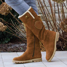 Frauen PU Flascher Absatz Stiefel-Wadenlang Schneestiefel Round Toe Winterstiefel mit Reißverschluss Quaste Schuhe