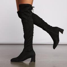 Frauen Veloursleder Stämmiger Absatz Stiefel über Knie Spitze mit Reißverschluss Zuschnüren Schuhe