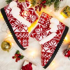 Frauen Stoff Flascher Absatz Schneestiefel Round Toe Winterstiefel mit Spleißfarbe Schuhe