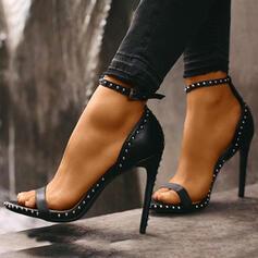 Frauen PU Stöckel Absatz Absatzschuhe Peep Toe mit Niete Schnalle Schuhe