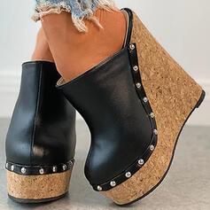 Frauen PU Keil Absatz Absatzschuhe Plateauschuh Geschlossene Zehe Keile Round Toe mit Niete Hohl-out Schuhe