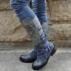 Frauen PU Stämmiger Absatz Stiefel-Wadenlang Round Toe Reitstiefel mit Schnalle Reißverschluss Zuschnüren Schuhe