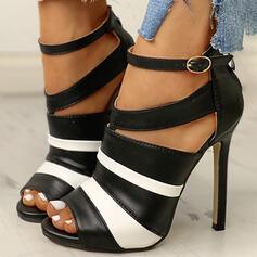 Frauen PU Stöckel Absatz Absatzschuhe Peep Toe mit Schnalle Schuhe