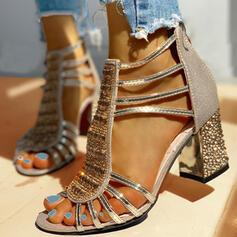 Frauen PU Stämmiger Absatz Sandalen Absatzschuhe Peep Toe Heels mit Strass Pailletten Reißverschluss Schuhe