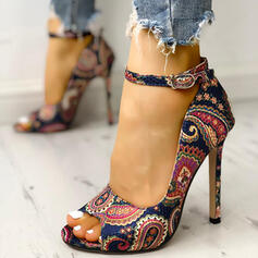 Frauen PU Stöckel Absatz Absatzschuhe Peep Toe mit Schnalle Kristallabsatz Schuhe