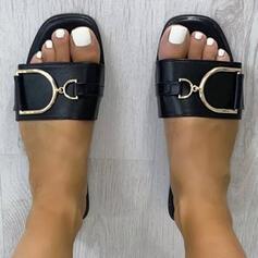 Frauen PU Flascher Absatz Sandalen Flache Schuhe Peep Toe Pantoffel mit Schnalle Einfarbig Schuhe