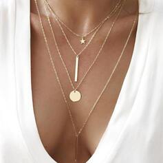 Einfache Geschichtet Stern Legierung mit Münze Frauen Halsketten Strandschmuck 4 STÜCK
