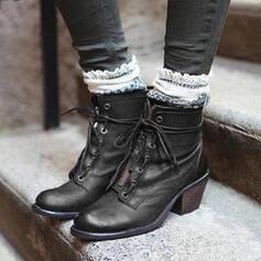 Frauen PU Stämmiger Absatz Martin Stiefel Round Toe mit Reißverschluss Zuschnüren Schuhe