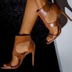 Frauen PU Stöckel Absatz Peep Toe mit Reißverschluss Schuhe
