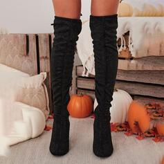 Frauen Veloursleder Stämmiger Absatz Stiefel über Knie Reitstiefel Round Toe mit Geraffte Reißverschluss Einfarbig Schuhe