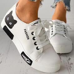 Frauen Leinwand Flascher Absatz Flache Schuhe Round Toe Slipper mit Tierdruckmuster Zuschnüren Schuhe
