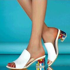 Frauen PU Stämmiger Absatz Sandalen Absatzschuhe Peep Toe Pantoffel Heels mit Andere Schuhe