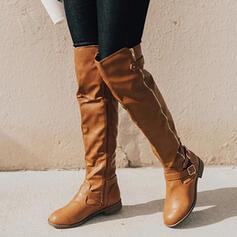 Frauen Kunstleder Niederiger Absatz Stiefel über Knie Reitstiefel Round Toe mit Schnalle Geraffte Reißverschluss Einfarbig Schuhe