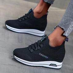 Frauen Stoff Espadrille-Absatz Flache Schuhe Round Toe mit Zuschnüren Schuhe