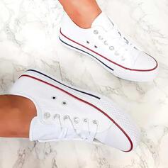 Frauen Leinwand Flascher Absatz Flache Schuhe Round Toe Espadrille mit Zuschnüren Schuhe