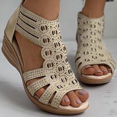 Frauen PU Keil Absatz Sandalen Keile Peep Toe Heels mit Strass Reißverschluss Schuhe