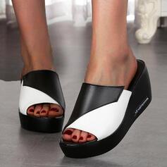 Frauen PU Keil Absatz Sandalen Plateauschuh Keile Peep Toe Pantoffel mit Hohl-out Spleißfarbe Schuhe