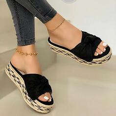 Frauen PU Flascher Absatz Sandalen Flache Schuhe Plateauschuh Peep Toe Pantoffel mit Bowknot Spleißfarbe Schuhe