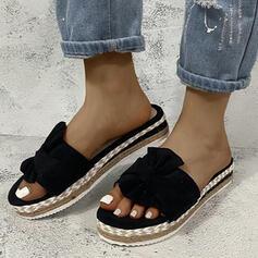Frauen Leinwand Flascher Absatz Sandalen Peep Toe mit Satin Schleife Hohl-out Schuhe
