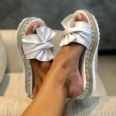 Frauen Kunstleder Keil Absatz Sandalen Flache Schuhe Plateauschuh Slingpumps Pantoffel mit Bowknot Schuhe