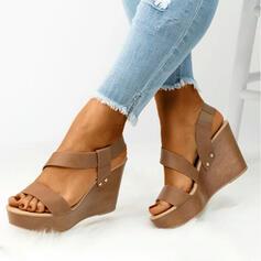 Frauen PU Keil Absatz Sandalen Keile Peep Toe Heels mit Einfarbig Schuhe