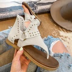 Frauen PU Flascher Absatz Sandalen Peep Toe Flip Flops mit Niete Schnalle Hohl-out Schuhe