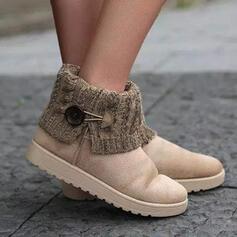 Frauen Veloursleder Flascher Absatz Stiefelette Schneestiefel Round Toe Schlüpfen mit Schnalle Spleißfarbe Schuhe