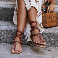 PU Flascher Absatz Sandalen Flache Schuhe Peep Toe Zehenring mit Schnalle Schuhe