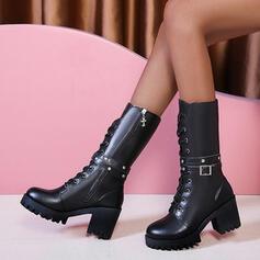 Frauen PU Stämmiger Absatz Stiefel-Wadenlang Round Toe Martin Stiefel mit Reißverschluss Zuschnüren Schuhe