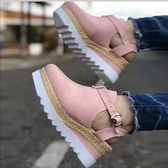 Frauen Veloursleder Andere Round Toe mit Schnalle Schuhe