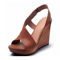 PU Keil Absatz Sandalen Keile Peep Toe Heels mit Schnalle Schuhe