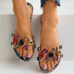 Frauen PVC Flascher Absatz Flache Schuhe Peep Toe Pantoffel mit Strass Schuhe