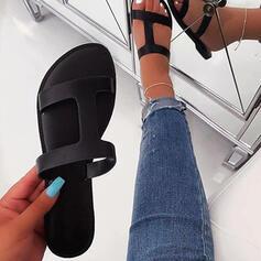 Frauen Stoff Flascher Absatz Sandalen Flache Schuhe Peep Toe Pantoffel Schuhe